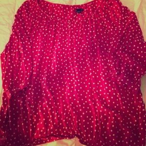 Pink top with white polka dots from the Gap.